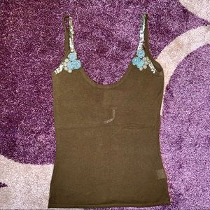 Free People Brown Embellished Sexy Back Tank Top